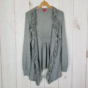 Elle   Gray Lace Shrug Sweater Shell Cardigan - XL